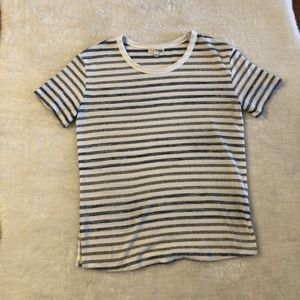 Wilfred Free White Striped Short Sleeve Shirt